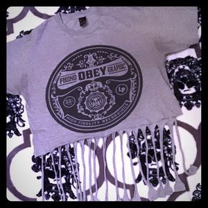Obey crop top tee shirt medium
